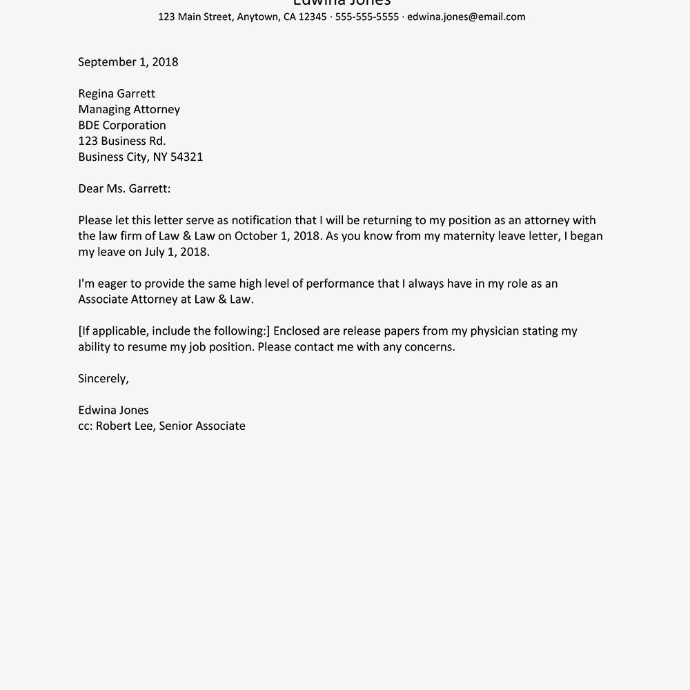 How to write a return from maternity leave letter for Going back to work after maternity leave letter template