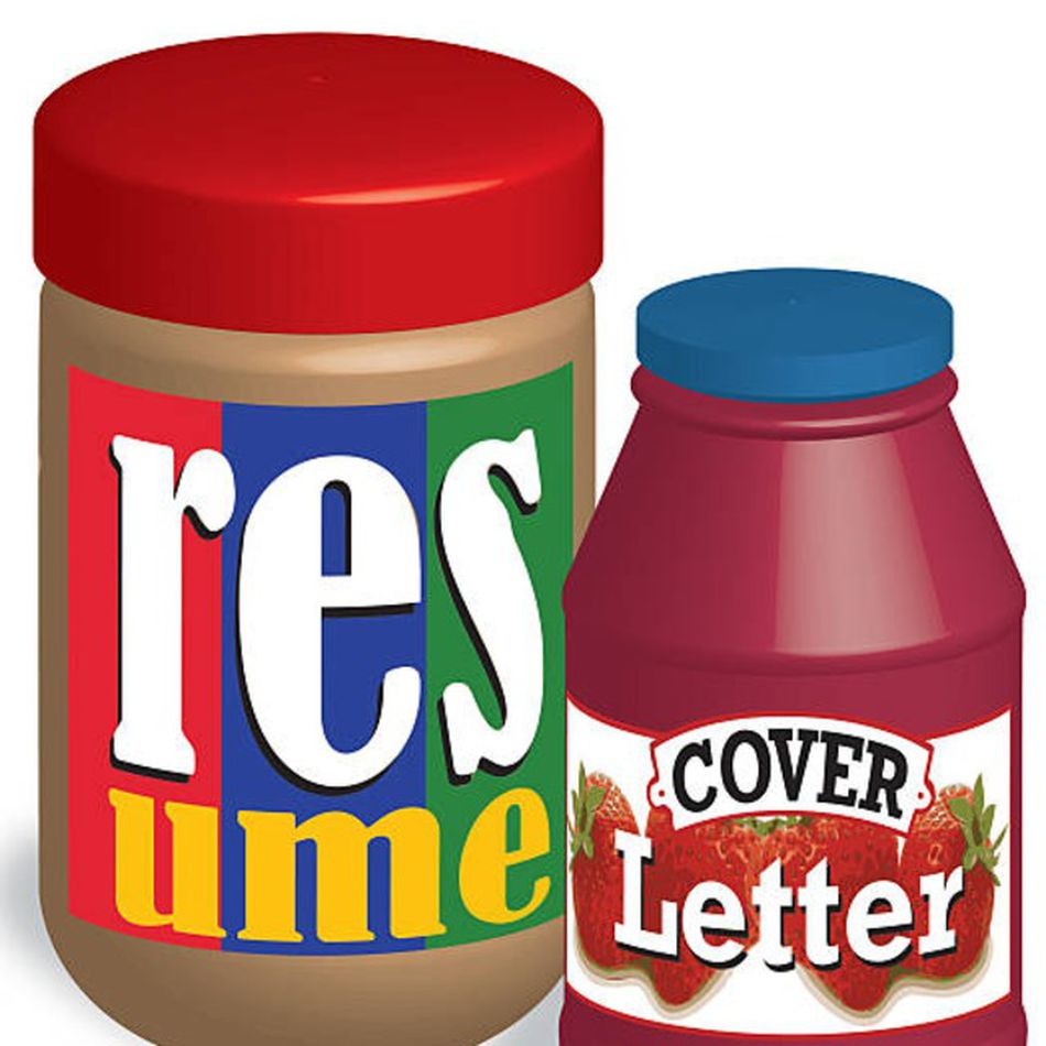 """Resume"" and ""Cover Letter"" shown as labels on a peanut butter and jelly jar."