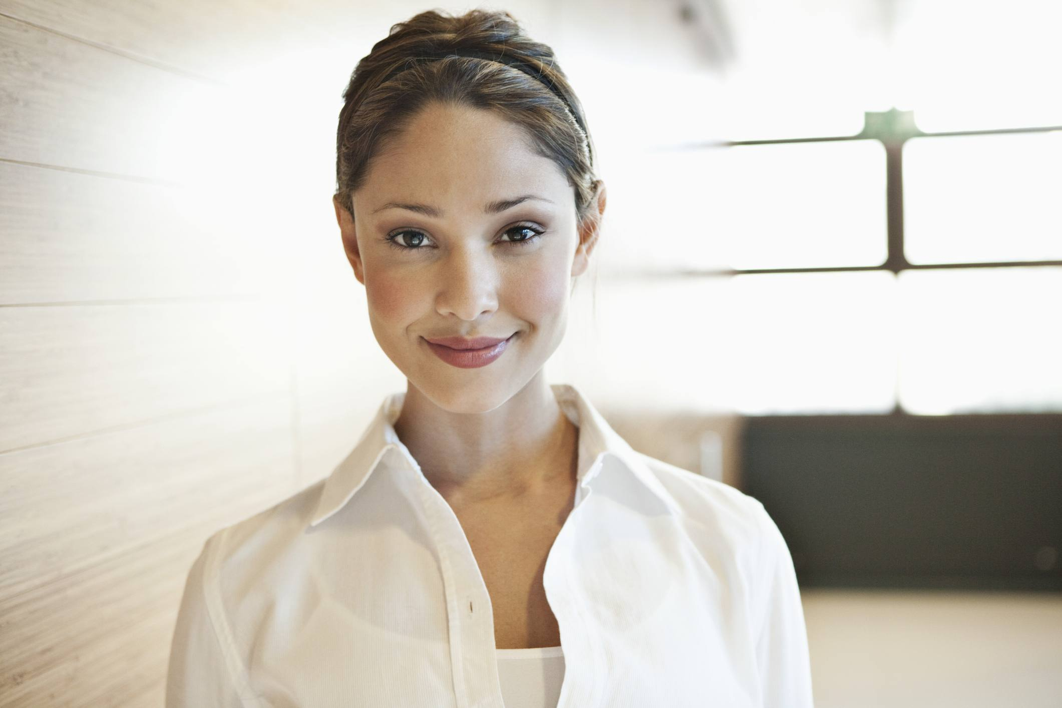 Business woman wearing button down
