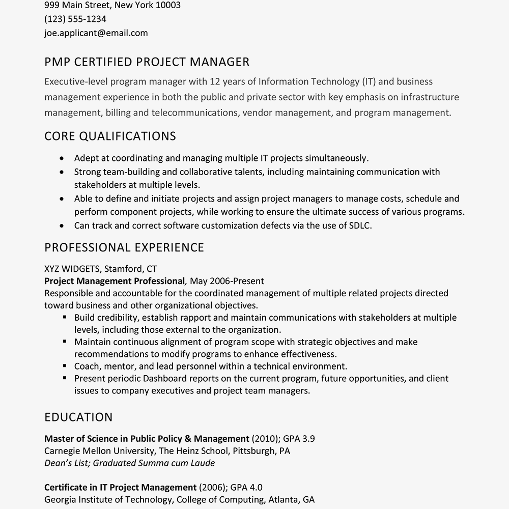 PMP Certified Project Manager Resume Example Text Version