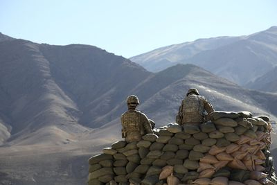 U.S. Army special forces soldiers in a sandbag bunker in the Daymirdad District Center, Wardak province, Afghanistan
