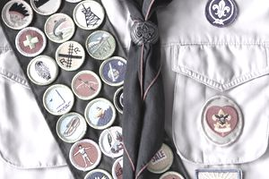Boy Scout Shirt with Rank Badge and Merit Badges