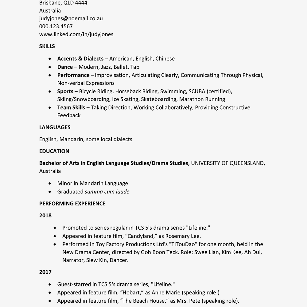 screenshot of a sample cv for international theater