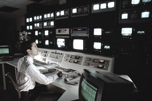 Technician in television broadcast room