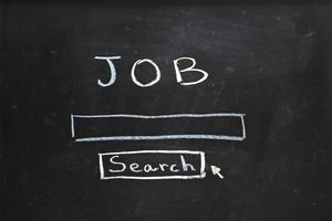 Job search written in chalk on a blackboard