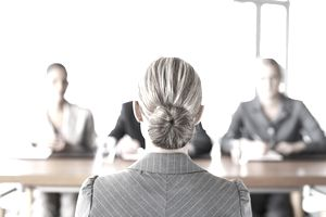 Woman at panel interview