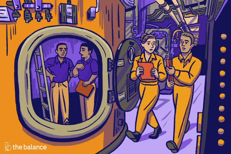 No text. Image shows a crew inside a large submarine. There are two people in orange jumpsuits walking through a corridor with purple walls, and there are two men wearing purple polo shirts and khaki pants, standing inside a pod with a ladder.