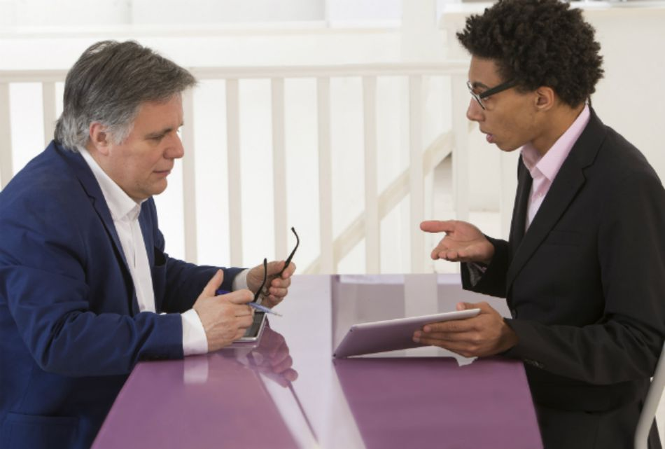 Two businesspeople in a meeting