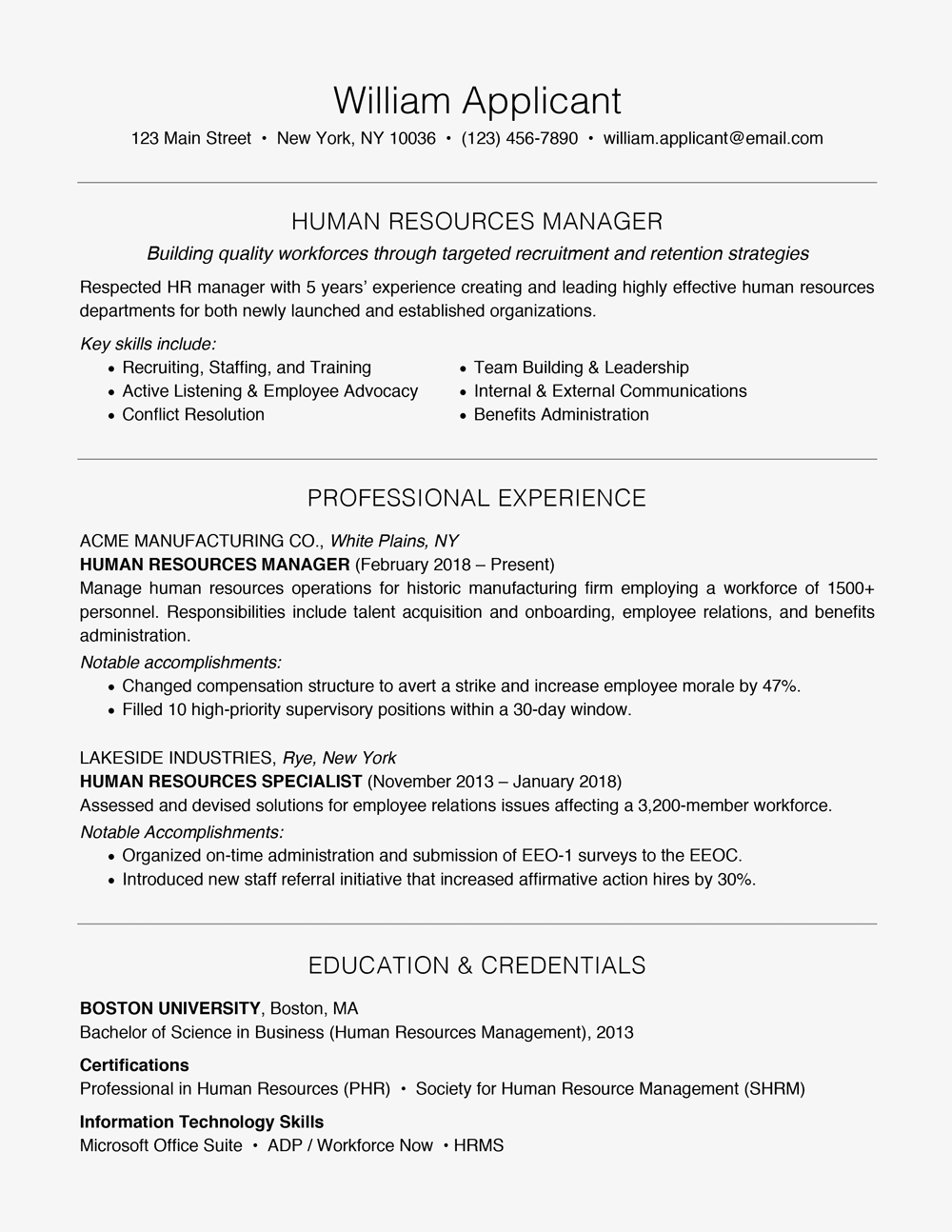 manager skills for resume