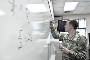 Army soldier working on whiteboard
