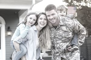 Happy soldier home from deployment