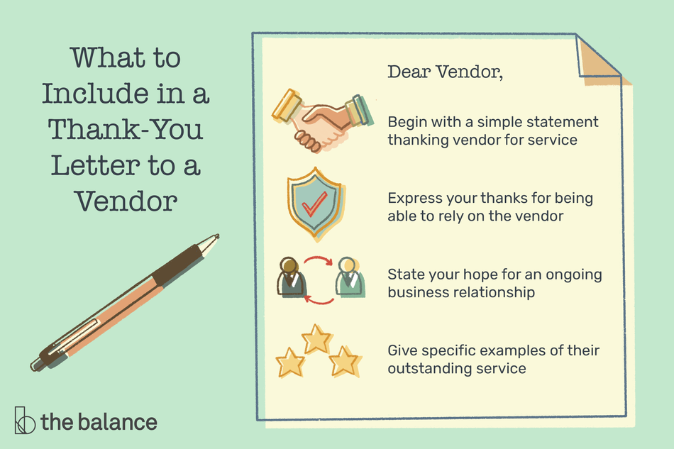 "This illustration includes what to include in a thank-you letter to the vendor including ""Begin with a simple statement thanking vendor for service,"" ""Express your thanks for being able to rely on the vendor,"" ""State your hope for an ongoing business relationship,"" and ""Give specific examples of their outstanding service."""