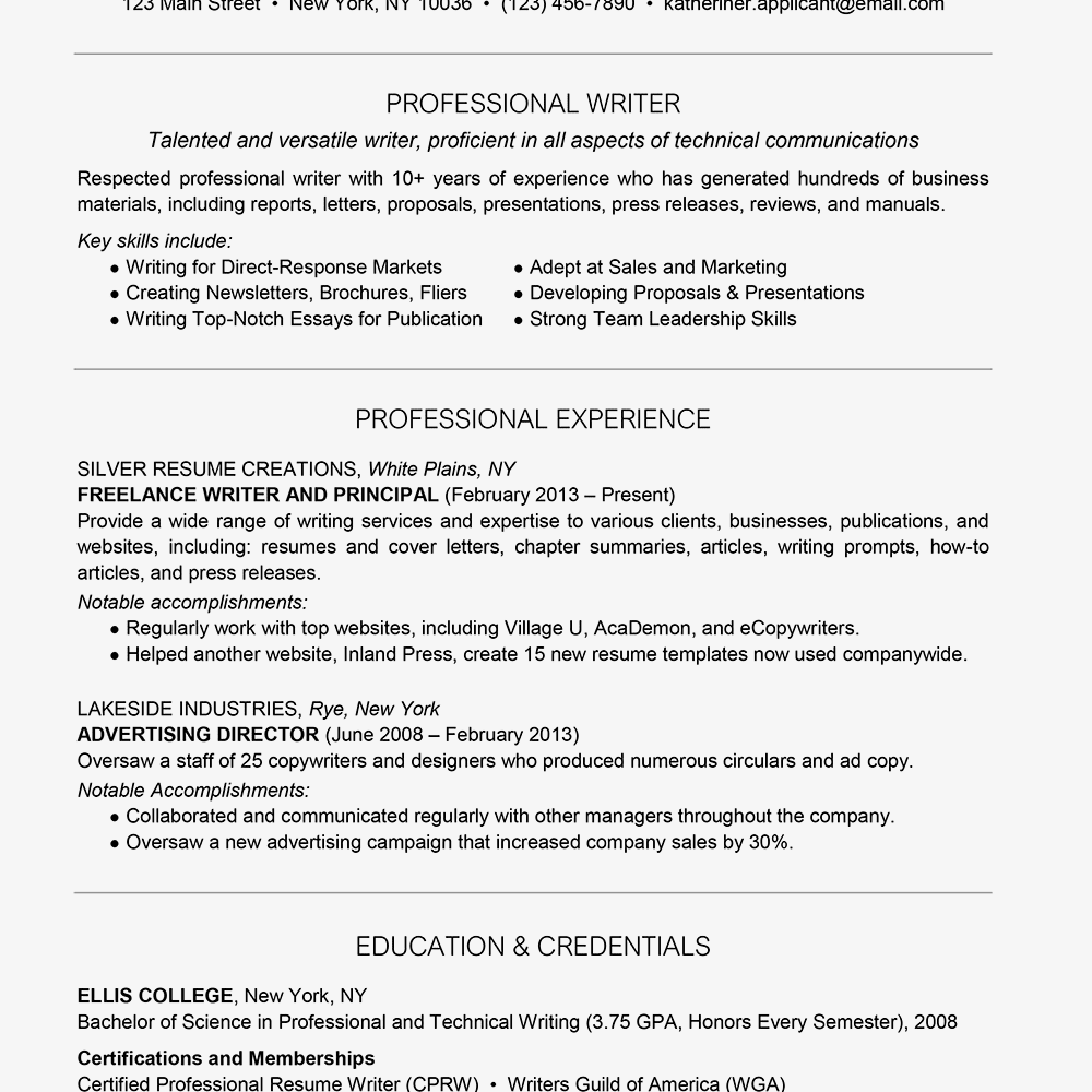 Professional Writer Resume Example Text Version