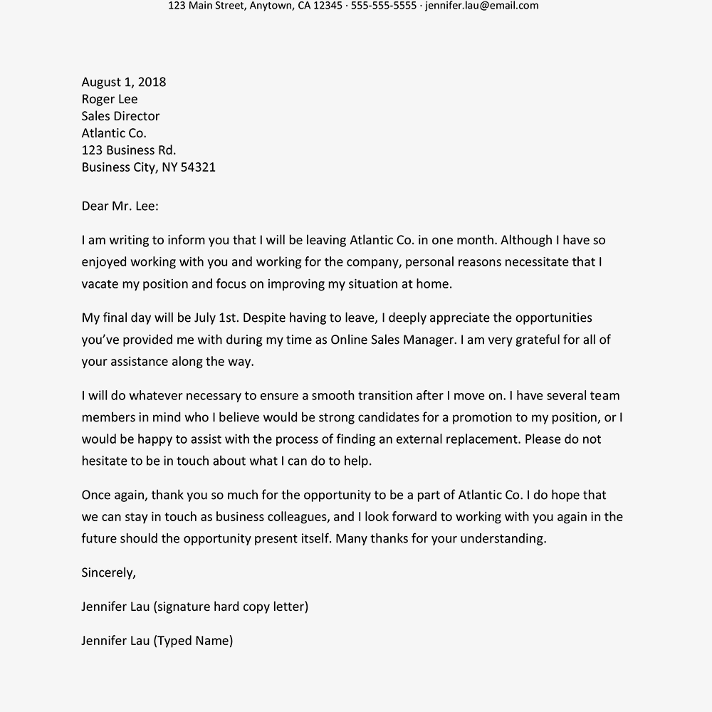 Resignation letters for personal reasons screenshot of a resignation letter for personal reasons expocarfo Choice Image