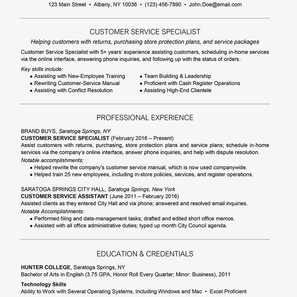 Screenshot Of A Customer Service Resume Sample