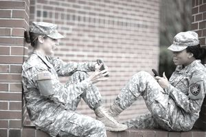 Military women on cell phones