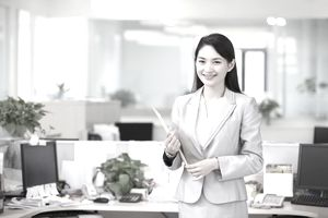 a young business woman carrying a document file
