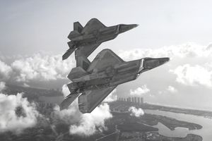 USAF F-22 Raptors in formation