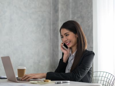 Administrative assistant on phone