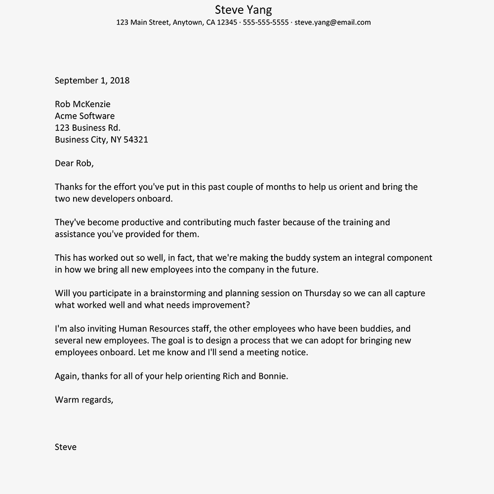 compliment letter to boss