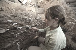Archeological excavation, Yzerfontein, Western Cape Province, South Africa.