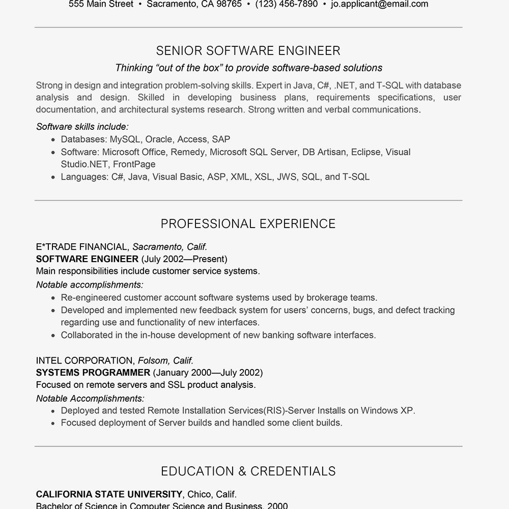 Screenshot Of A Software Engineer Resume Sample