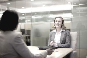 Young businesswoman in job interview