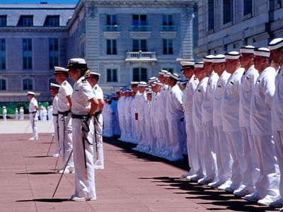 Noon formation outside Bancroft Hall at US Naval Academy.