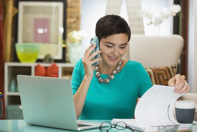 Businesswoman talking on a cell phone