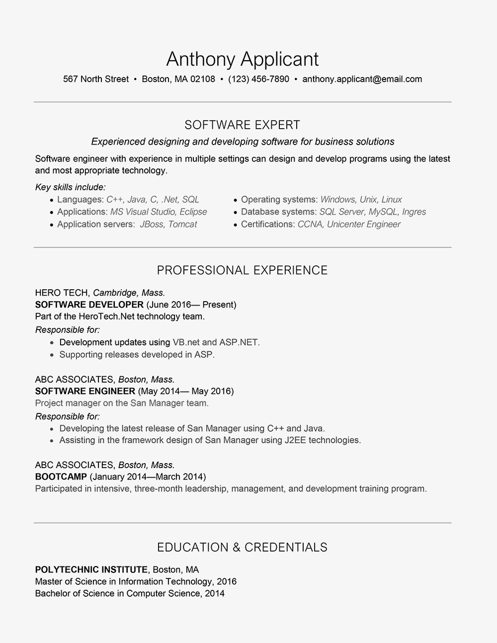 software developer cover letter
