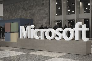 Microsoft logo in building