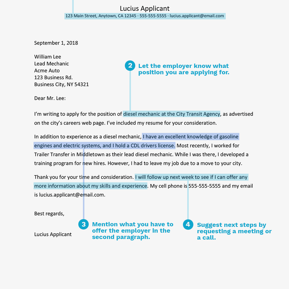 Screenshot Of A Cover Letter