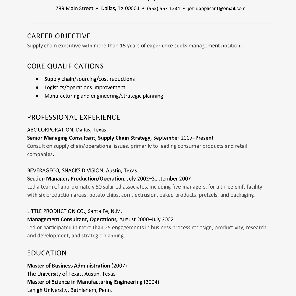 Review A Resume Sample