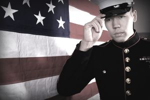 Marine in full dress uniform