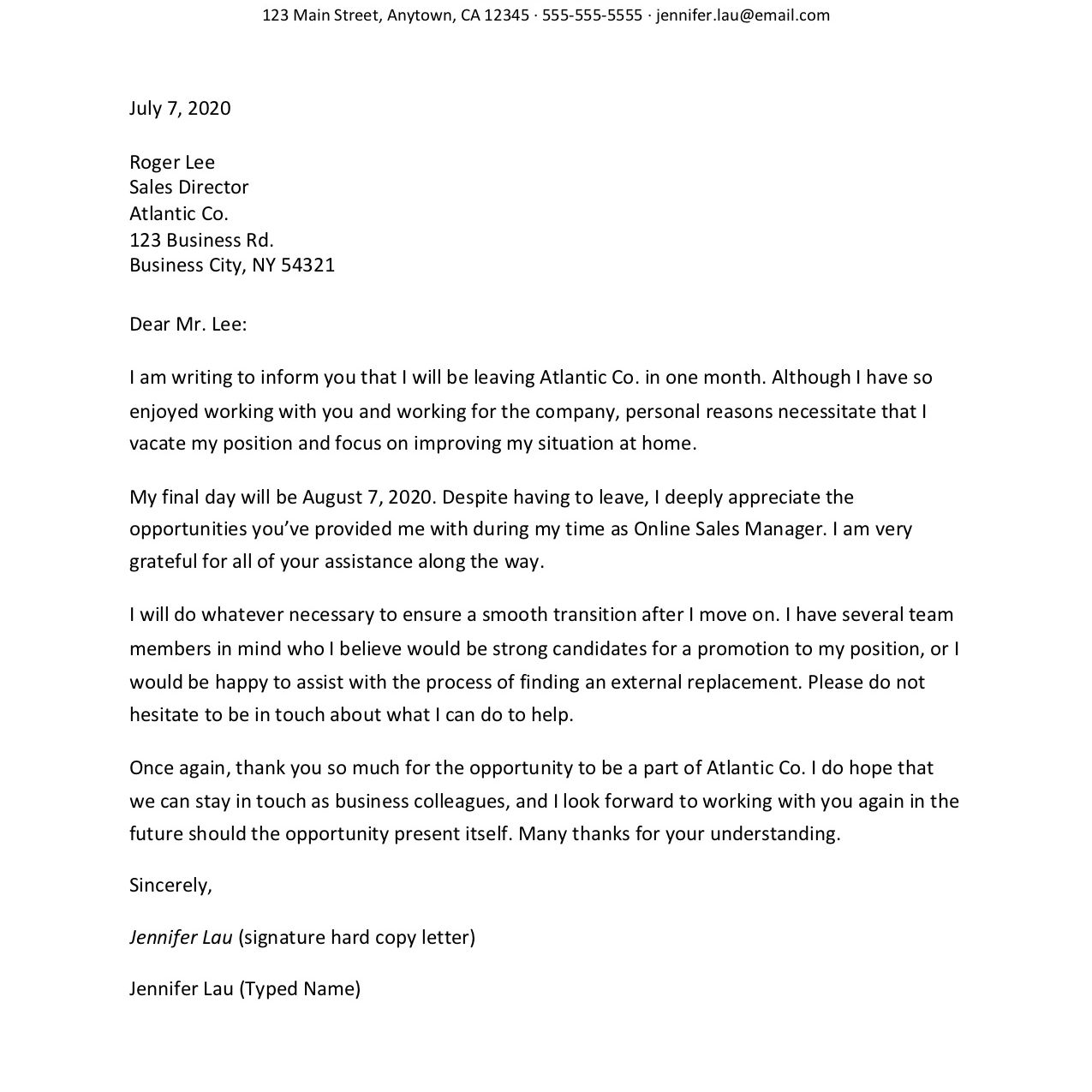 Formal Resignation Letter Example from www.thebalancecareers.com