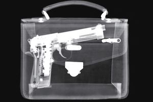 X-ray of handbag with gun