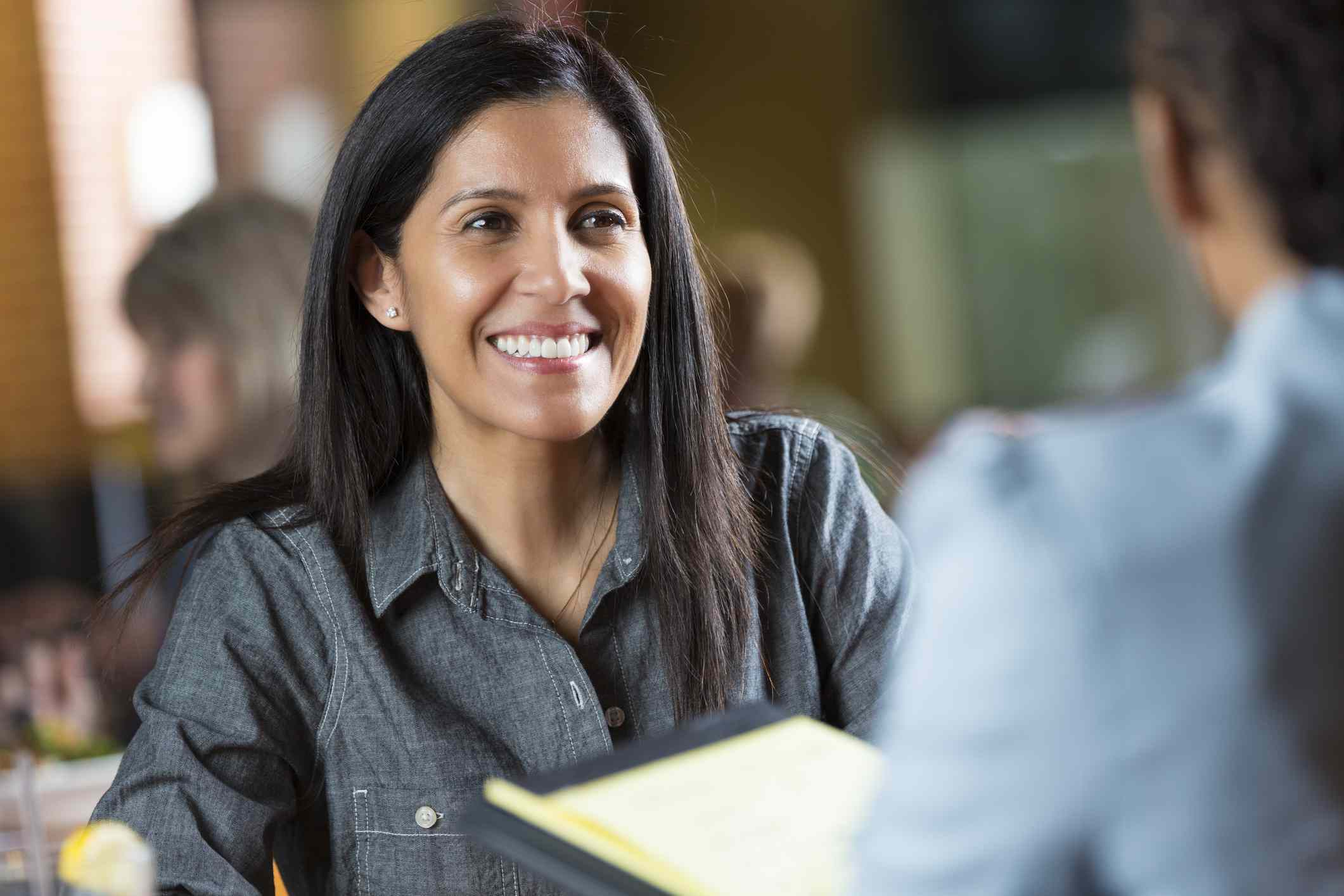 Smiling woman at a job interview