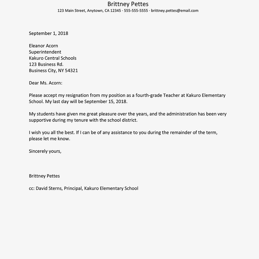 Teacher Resignation Letter Example from www.thebalancecareers.com