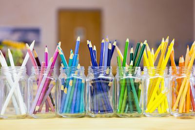 Pencils organized by color