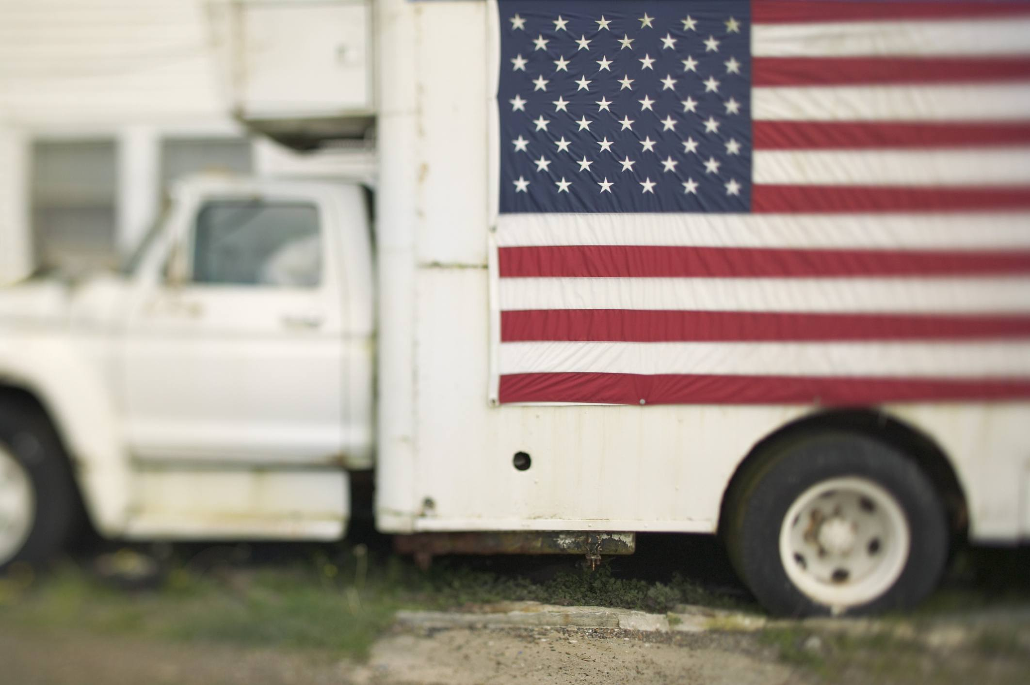 Delivery truck with US flag on it