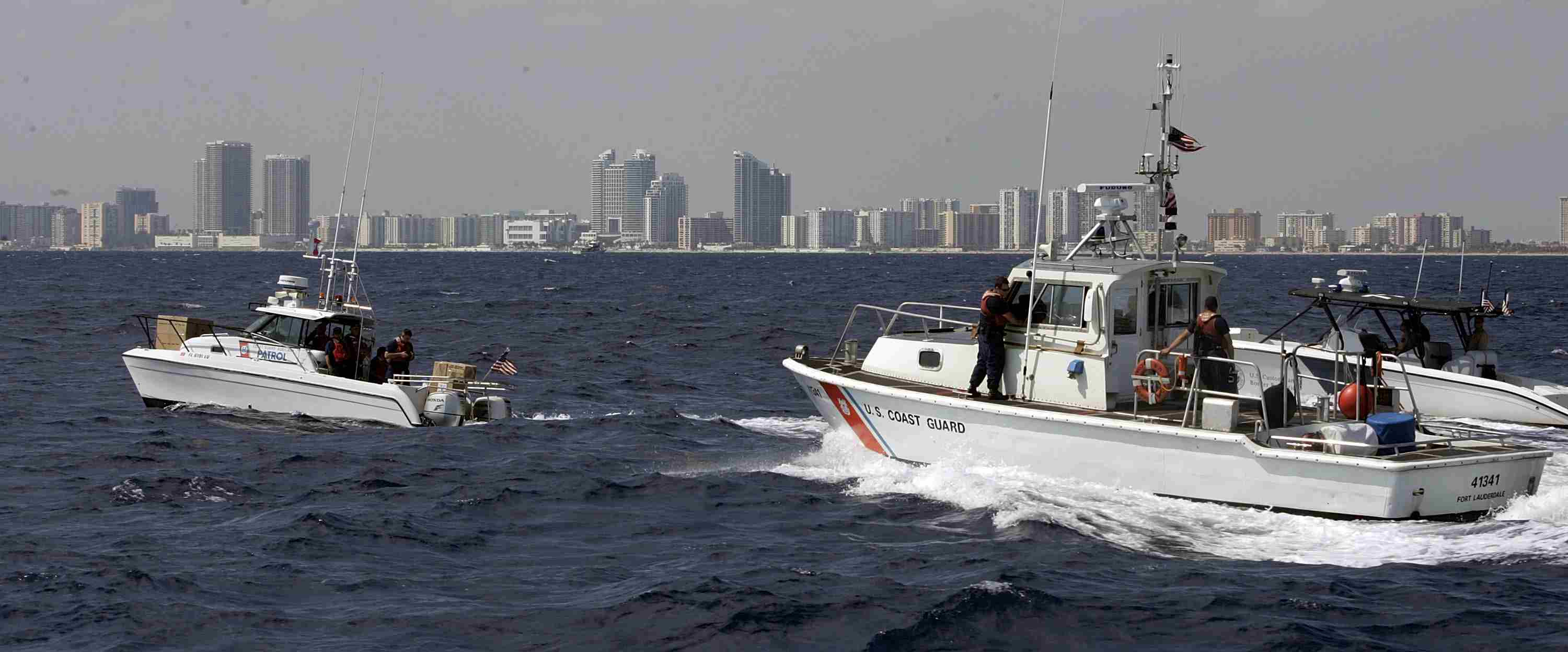 Coast Guard boats in action