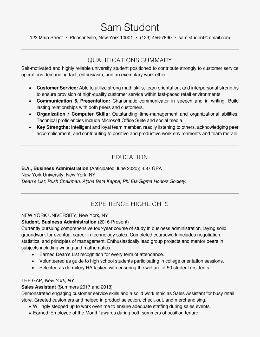 resume skills for high school students - Resume Highlights