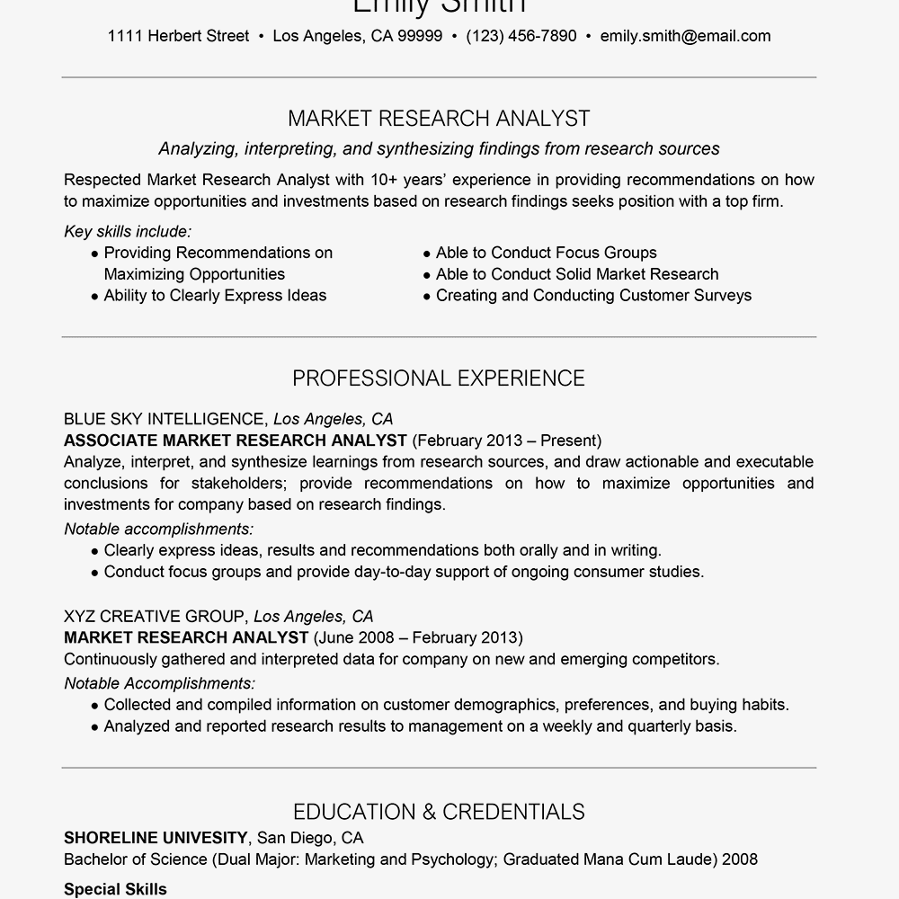 Market Research Analyst Cover Letter And Resume Examples