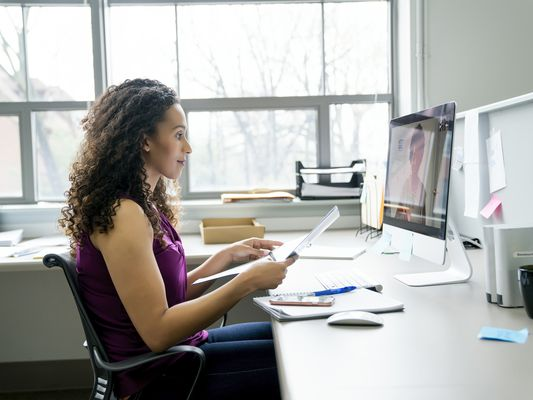 Woman interviewing virtually for a job