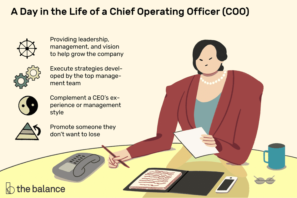 A day in the life of a chief operating officer (COO): Providing leadership, management, and vision to help grow the company, execute strategies developed by the top management team, complement a CEO's experience or management style, promote someone they don't want to lose