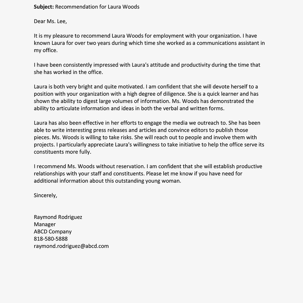 Write an Employee Recommendation Letter