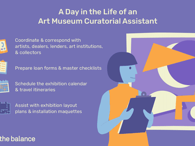 A day in the life of an art museum curatorial assistant: Coordinate and correspond with artists, dealers, lenders, art institutions and collectors; prepare loan forms and master checklists; schedule the exhibition calendar and travel itineraries; assist with exhibition layout plans and installation maquettes