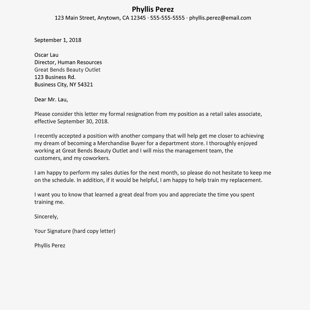 sample retail job resignation letter text version