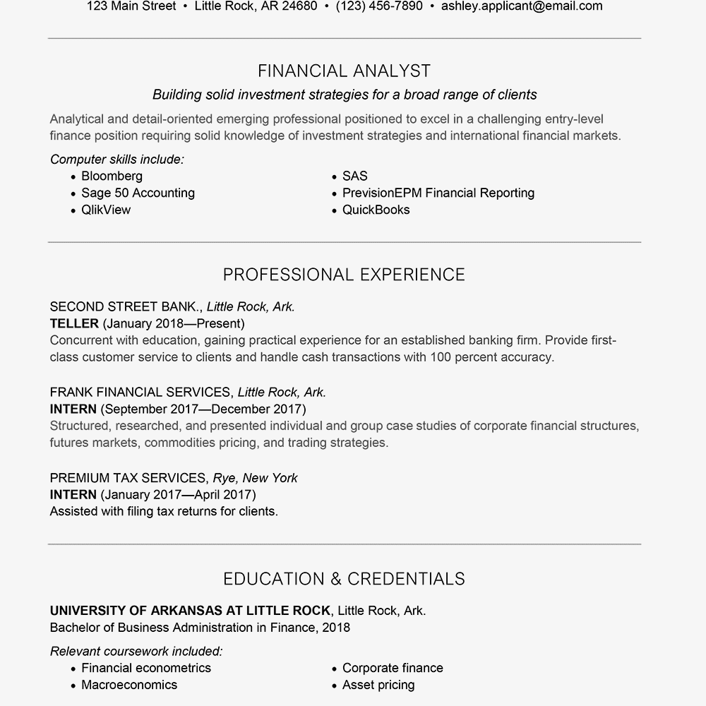 Entry-Level Finance Cover Letter And Resume Samples