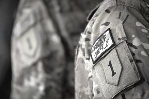 army patch on uniform